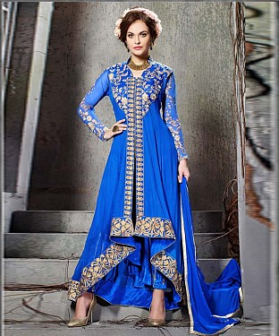 BLUE EMBROIDERY GEORGETTE ANARKALI SUIT @ Rs2100.00